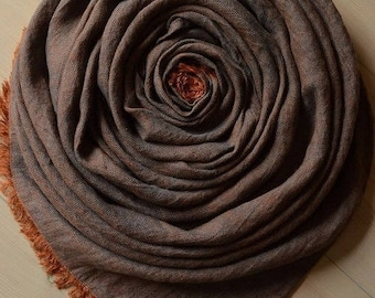 Rust Brown and Slate Melange LINEN Scarf