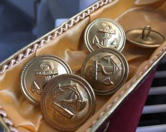5 golden uniform buttons - east german navy buttons - 1949-1989 (DDR NVA people's Navy)-anchor buttons (083)