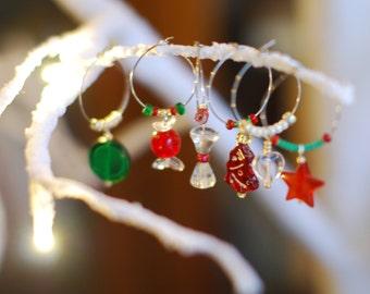 Christmas Wine Charms, Wine Glass Charms, Christmas, Table Decorations, Christmas Decorations,