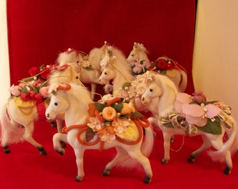 Beautiful flowered white horse Christmas ornaments
