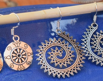 2 PAIRS Silver tribal earrings ,inspired by ancient jewellery, gypsy earrings, filigree earrings, boho jewellery