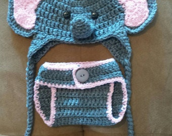 Elephant hat and Diaper Cover Set for baby girl. 0-3 months.