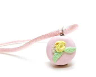 Pink Cake Necklace Polymer Clay Miniature Pendant Charm with Yellow Rose