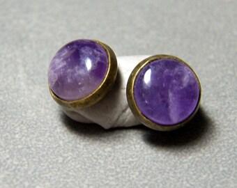 10mm Amethyst Gemstone Post Earrings set in Brass