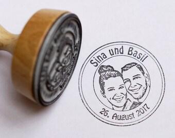 Fotostempel, Hochzeitsstempel, Face stamp, Stempel personalisiert mit Deinem Foto, Gesicht, Brautpaar, Konterfei, Porträt, Portraitstempel