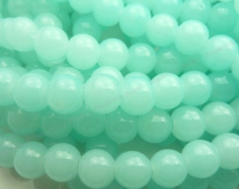 8mm Cloud Blue Round Glass Beads - Smooth, Shiny Beads - 25pcs - BN9