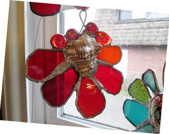 Pirate's Treasure  - Gorgeous Stained Glass Suncatcher with Seashell