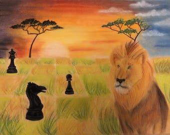 Original Chess Art, Lion Pastel Painting, African Wildlife Series