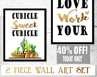 Cubicle Sweet Cubicle, Cubicle Print, Cubicle Decor, Cubicle Wall Decor,Printable Cactus Art,Cactus Wall Art,Desk Gift Her,Gold Office Print
