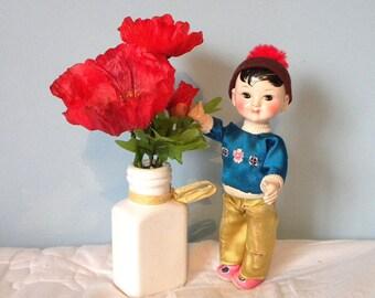 """Vintage Oriental Doll - 9"""" Celluloid Doll  - Oriental Boy Doll - 1950's Doll"""