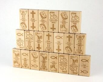 Christian Faith Dominoes 21 pc Maple Blocks