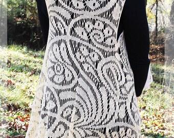 PAISLEY ROMANCE CROCHET vest, beige