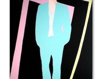 Original Pop Art 80's Style Canvas Painting