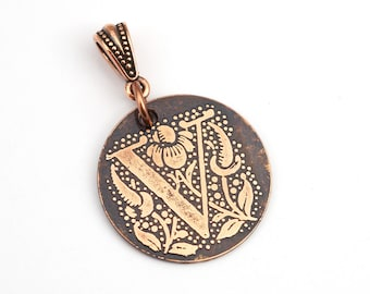 Copper V pendant, round flat metal copper etched initial, optional necklace, 25mm