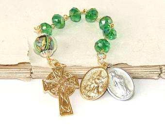 Christian Saint Pocket Rosary of St Dymphna, Patron Saint of Domestic Violence & Mental Stress