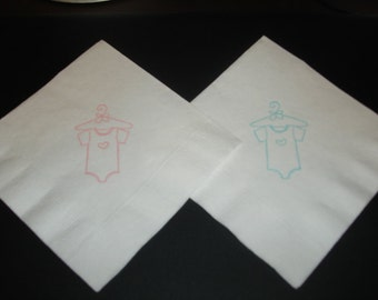 Baby Shower Onesie Cocktail Napkins Embossed Set of 50