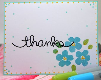 "CARD - Set of Four (4) - ""Thanks"" with Aqua Flowers -"