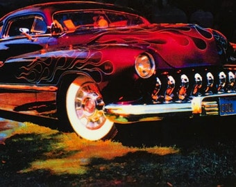BAD BOY Merc pinup by VANCAS Hot Rod Mercury Lead Sled Performer 1950's Auto Pin-Up  a real Classic Garage or Shop - 12x18
