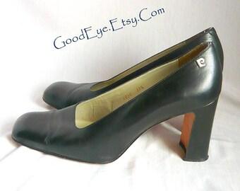 Vintage Pierre Cardin Leather Pumps / Size 8 .5 Eur 39 .5 UK 6 .5 / Chunky High Heel Square Toe Black Shoes / 1990s Signature Paris