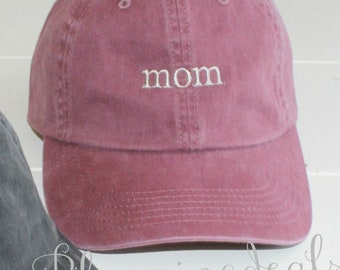Mom Hat Mothers Day Gift, DAD Hat Fathers Day Gift, Low Profile Unstructured Pigment Dyed Hats Under 20 Dollars