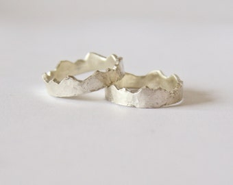 Silver Interlocking Rings - Mountain Range Rings - Silver Wedding Engagement Ring - Couple Ring - Recycled Sterling Silver