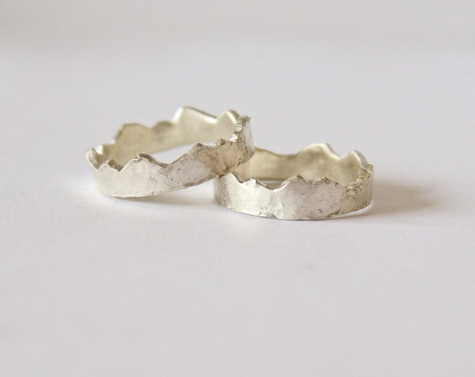 Featured listing image: Silver Interlocking Mountain Range Rings