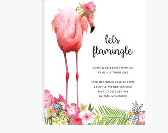 Tropical / Flamingo / Pineapple Invitation for a Tropical Party / Birthday Party / Baby Shower Design / DIY Printable Party & Birthday Decor