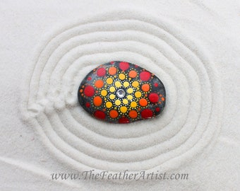 Hand-Painted Mandala Rock (Fire)