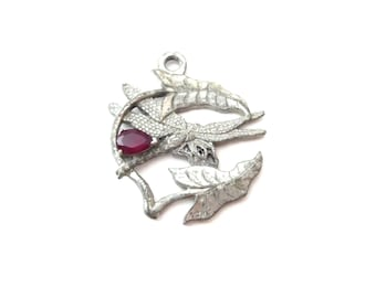 TJM Marked Silver Tone Metal & Deep Ruby Red Rhinestone Circular Shaped Dragonfly Bug Vintage Pendant / Ornament
