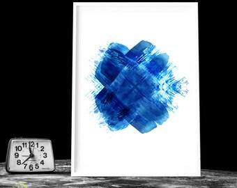 ABSTRACT PRINTABLE INDIGO watercolor Abstract wall art Dark blue art print Indigo print art Living room decor Extra large wall art #12