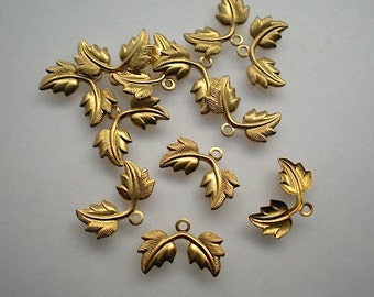 12 tiny brass double leaf charms No. 2