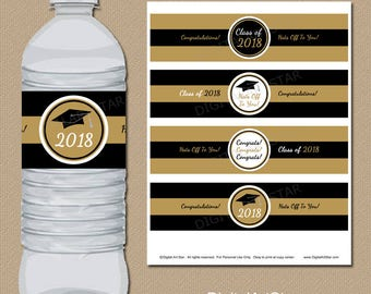 INSTANT DOWNLOAD Black and Gold Graduation Labels, Graduation Party Ideas, 2018 Graduation Water Bottle Label PRINTABLE Party Decor G2