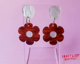 Tortoise Shell or Pink Flower Dangle Earrings, Laser Cut Acrylic Earrings