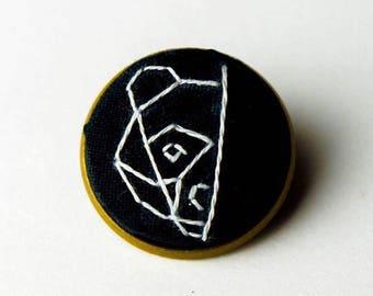 Bear Is Peeking Hand Embroidered Brooch Pin