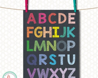 Dark Rainbow Alphabet 8X10 Print