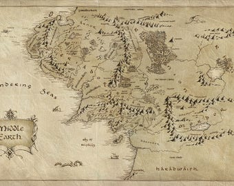 Middle Earth Map Poster - Choose Your Size - Includes a Free Surprise A3 Poster (1) Lord of the Rings/Hobbit