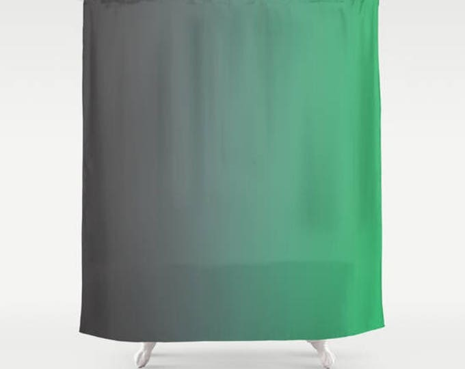 Gray to Green Ombre Shower Curtain - Bathroom Decor - Made to Order