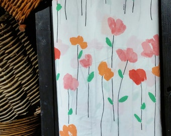 A 2 pc very colorful sheet set, that's loaded with a field of red, orange and pink tulips, 2 pc full size vintage set designed by Vera.