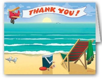 Boxed Beach Side Enjoyment Thank You Note Cards 18 Count - 14066