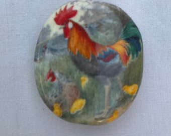 Smoke Stone Rooster with Chicken And Chicks Design