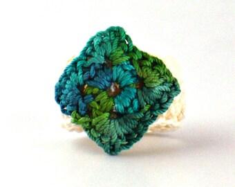 Crochet Ring Fiber Ring  Miniature Diamond Granny Square Green Ecru