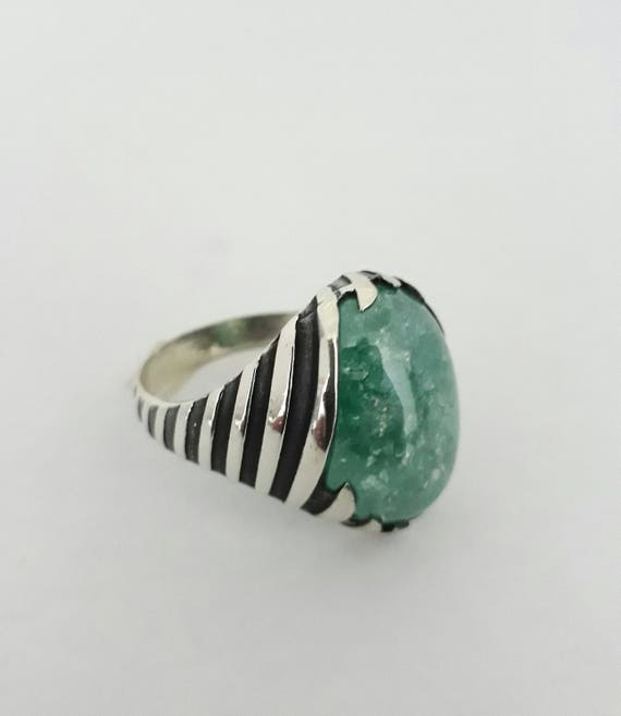 emerald collections round womens stone green sterling stones rings silver turquoise img ring with