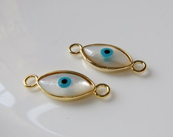 1 pc Matte 22K Gold Plated Base Mother of Pearl Eyes Connector- Eyes 25x14mm(001-025GP)