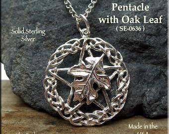 Sterling Silver Druid Pentacle Pendant, .925 Silver Celtic Pentagram with Oak Leaf, Druid Necklace, Celtic Jewelry, Pagan Jewelry SE-0636