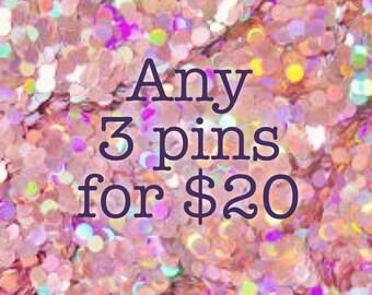 Any 3 Pins [brooch lapel pin set]
