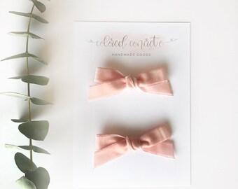 Light Pink Vintage Velvet Pigtail Set