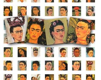 Frida Kahlo collage sheet, scrabble tile size,  vintage printable digital collage sheet no. 428.