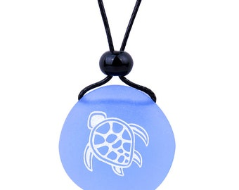 Amulet Frosted Sea Glass Stone Adorable Magic Turtle Good Luck Powers Adjustable Necklace