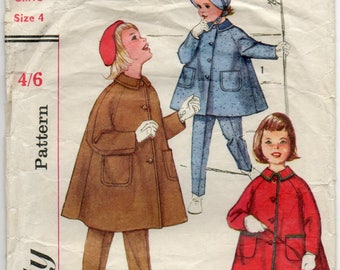 Vintage Pattern, Childrens Pattern - Child's Coat, Pants and Hat - Simplicity Pattern 3654 - 1960 - Size 4