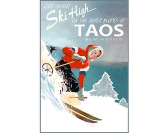 Taos New Mexico Snow Ski Winter Sports Travel Poster Sangre de Cristo Mountains Paris Art Print 329